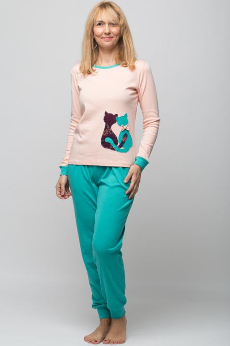 Pijama bumbac doua piese doua pisicute, roz-turcoaz 0