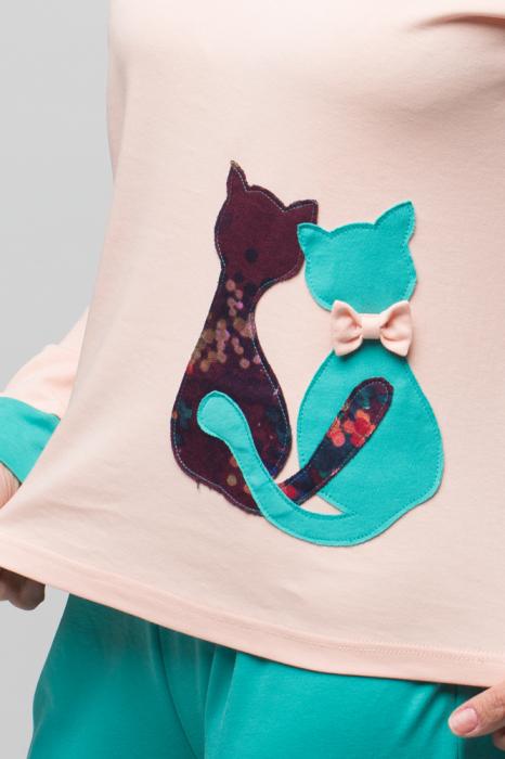 Pijama bumbac doua piese doua pisicute, roz-turcoaz 3