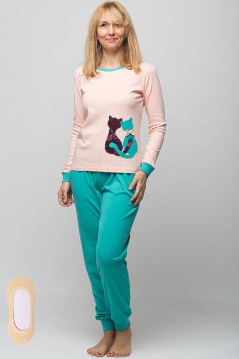 Pijama bumbac doua piese doua pisicute, roz-turcoaz 4