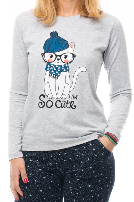 Pijama bumbac doua piese `pisica cu esarfa si caciula` [3]