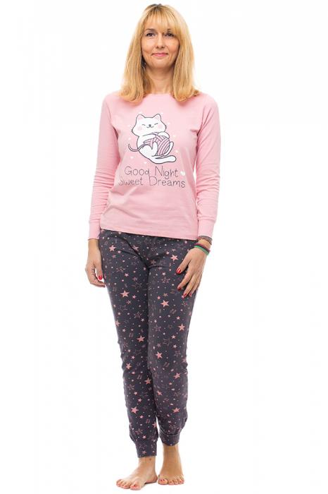 Pijama bumbac doua piese `pisica jucausa` 0