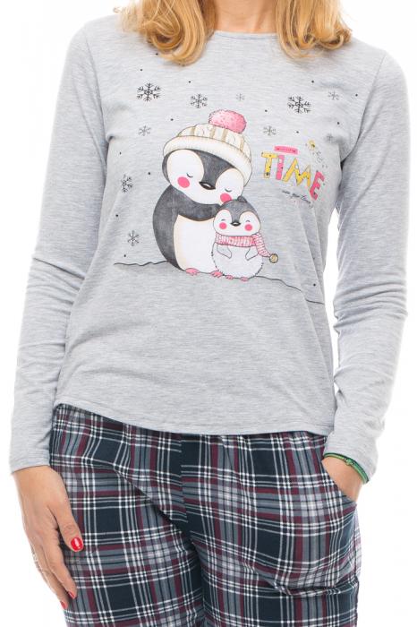 Pijama din bumbac doua piese `familie pinguini` [3]