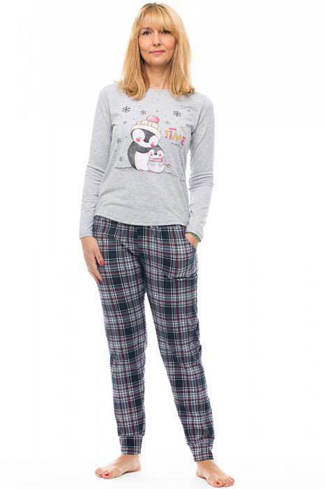 Pijama din bumbac doua piese `familie pinguini` [0]
