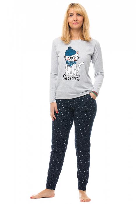 Pijama bumbac doua piese `pisica cu esarfa si caciula` [0]
