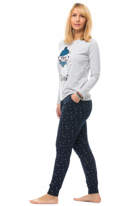 Pijama bumbac doua piese `pisica cu esarfa si caciula` [1]