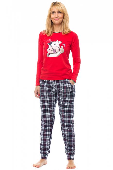 Pijama bumbac doua piese `vacuta vesela` [0]