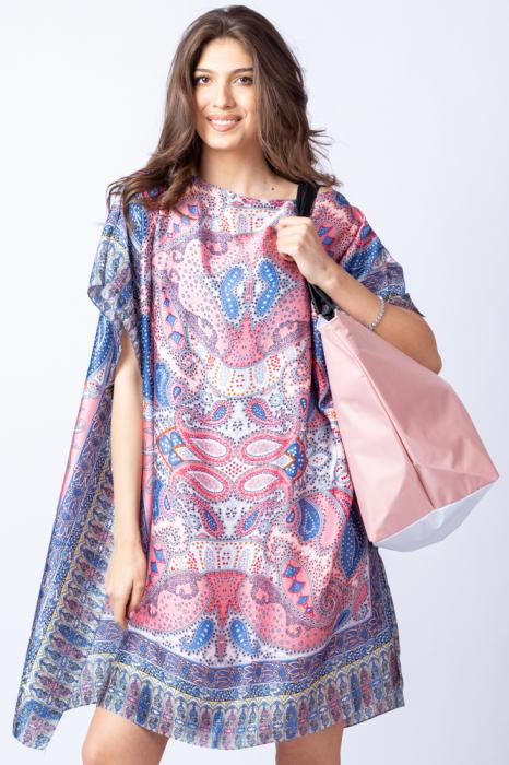 Poncho din matase cu imprimeu arabesque pe fond bleu - roz [4]