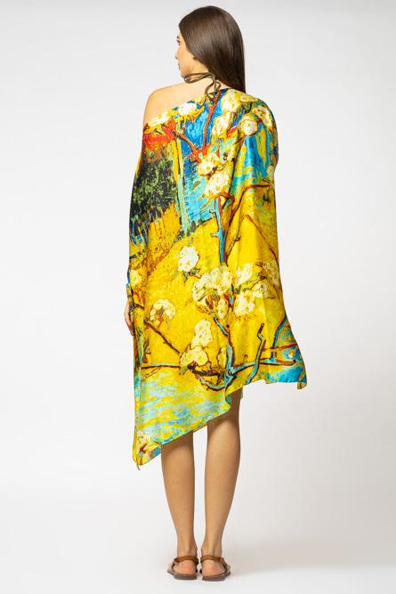 Poncho din matase cu imprimeu inspirat din pictura moderna cu galben si albastru [2]