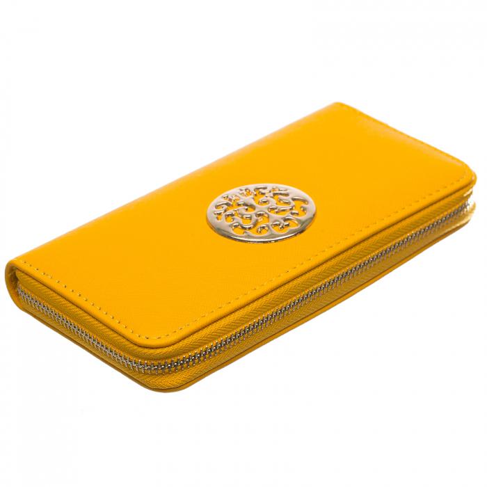 Portofel galben cu detaliu metalic auriu rotund [0]