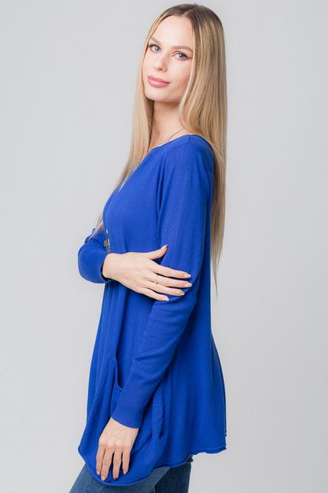 Pulover albastru lung in colturi cu buzunare [1]