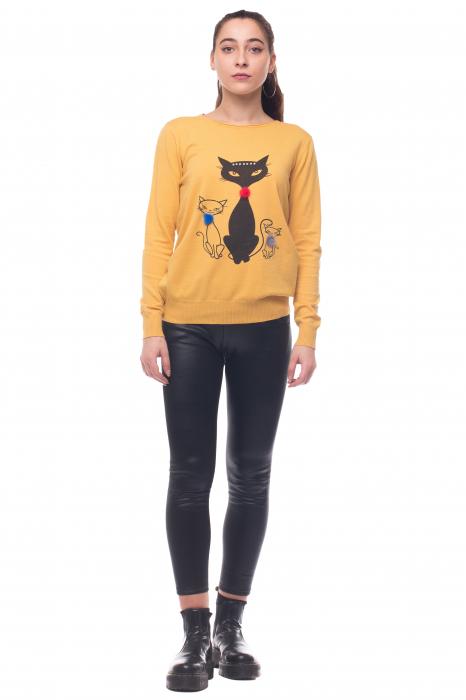 Pulover galben vesel cu imprimeu pisici 0