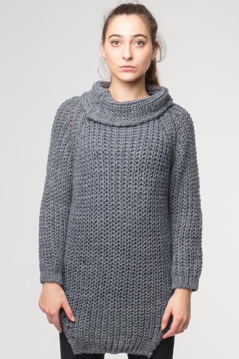 Pulover gri tricotat cu guler inalt [0]