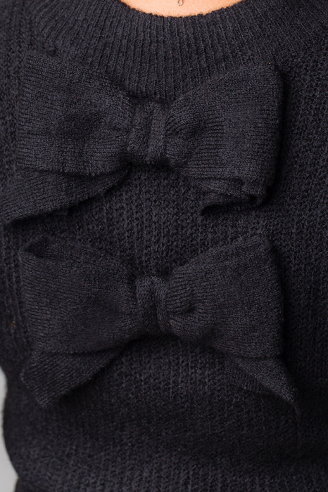 Pulover negru fashion cu doua funde pe spate 2
