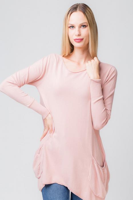 Pulover roz prafuit lung in colturi cu buzunare 0