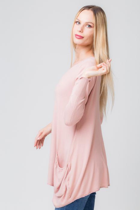 Pulover roz prafuit lung in colturi cu buzunare [1]