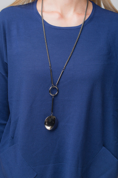 Pulover subtire bleumarin cu 2 buzunare oblice [2]