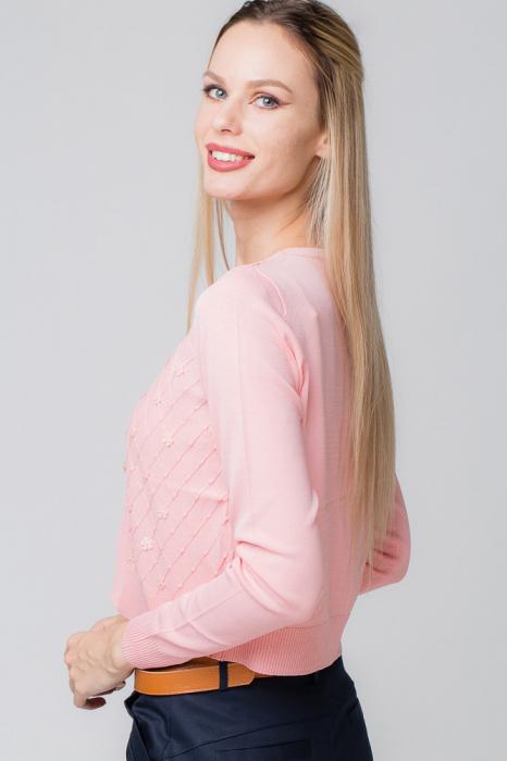 Pulover subtire roz cu paiete 2