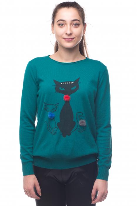 Pulover turcoaz vesel cu imprimeu pisici 0