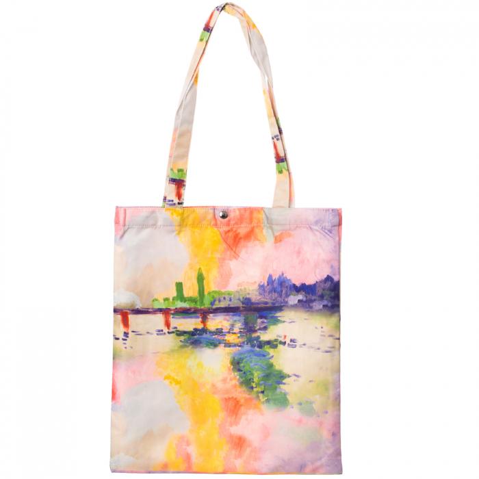 Geanta shopper din material textil, imprimeu inspirat dintr-un peisaj al unui lac [0]