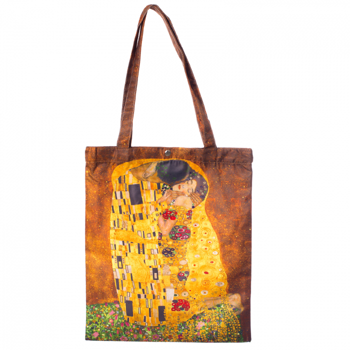 "Geanta shopper din material satinat textil, imprimeu inspirat dupa pictura ""Sarutul"" a celebrului Gustav Klimt [0]"