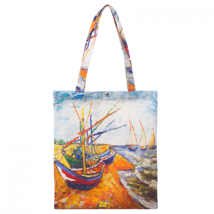 "Geanta shopper din material textil, cu imprimeu inspirat din pictura ""Barci pe plaja"" a lui Vincent Van Gogh [0]"