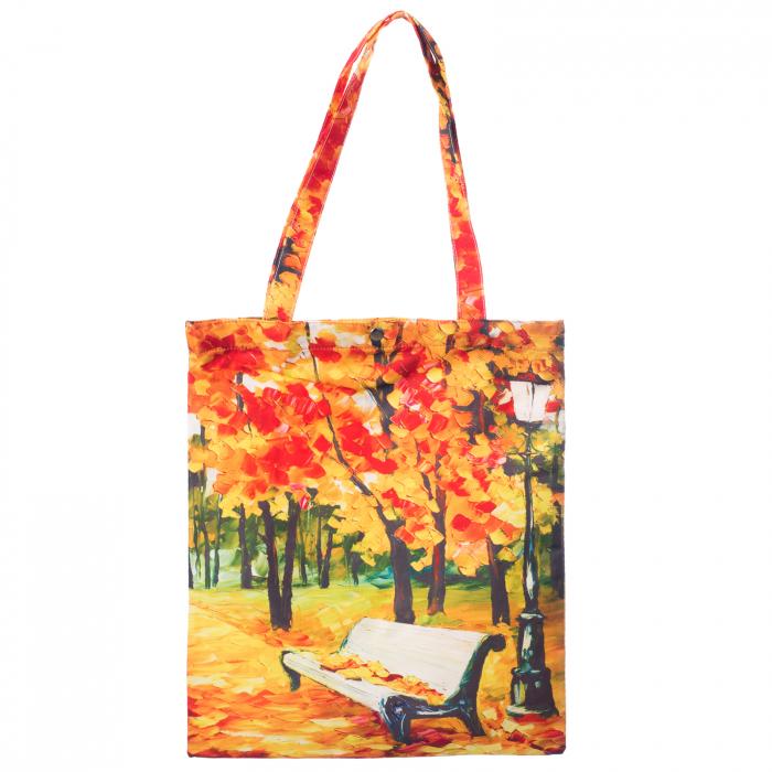 Geanta shopper din material textil, imprimeu peisaj de toamna [0]