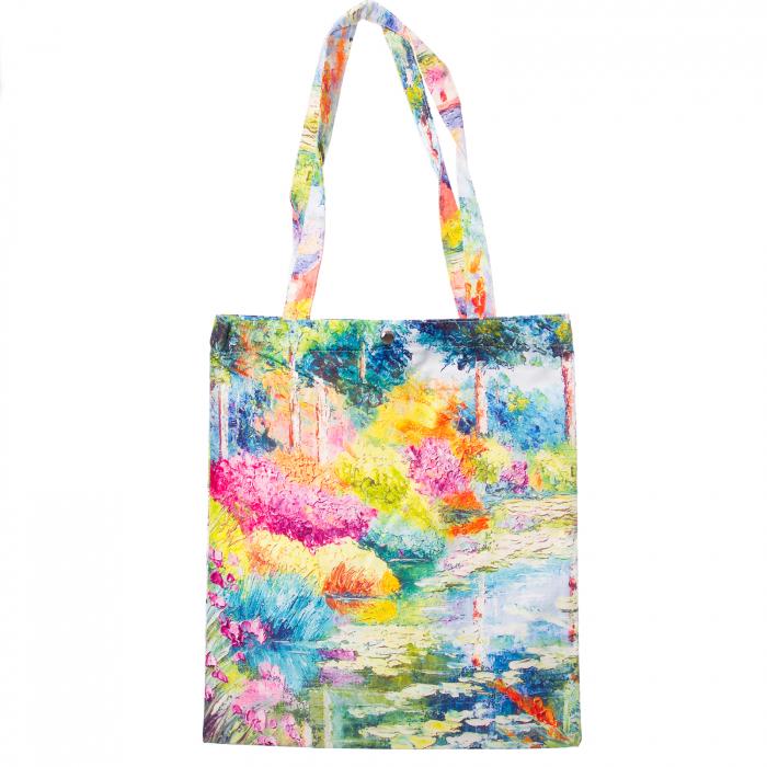 Geanta shopper din material textil, imprimeu peisaj lac [0]