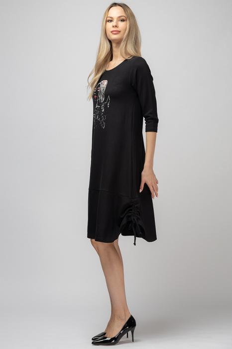 Rochie `A line` midi, neagra cu imprimeu silueta unei fete, cu sireturi laterale [1]