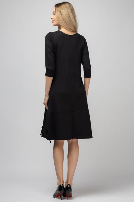Rochie `A line` midi, neagra cu imprimeu silueta unei fete, cu sireturi laterale [2]