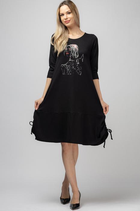 Rochie `A line` midi, neagra cu imprimeu silueta unei fete, cu sireturi laterale [0]