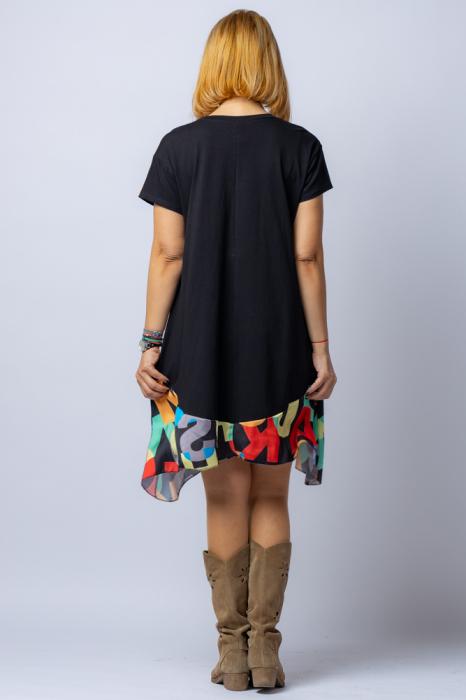 Rochie trendy neagra cu imprimeu litere colorate, din bumbac, cu maneca lunga [2]
