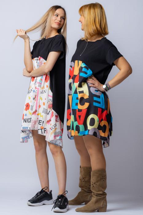 Rochie trendy neagra cu imprimeu litere colorate, din bumbac, cu maneca lunga [4]
