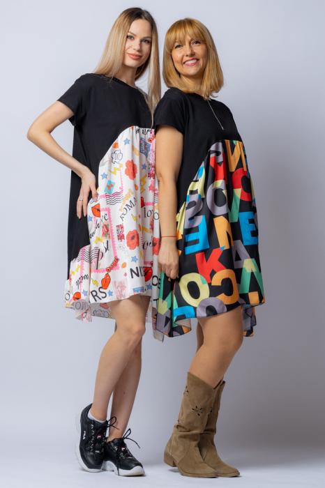 Rochie trendy neagra cu imprimeu litere colorate, din bumbac, cu maneca lunga [5]