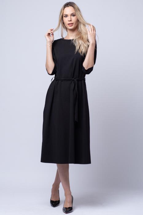 Rochie eleganta, cordon in talie, neagra [0]