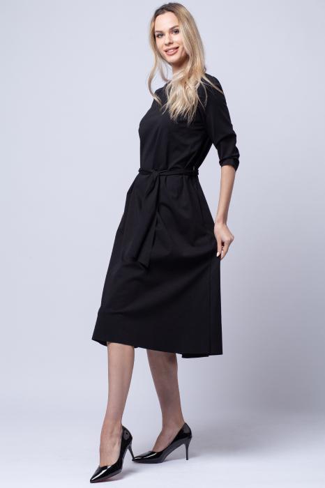 Rochie eleganta, cordon in talie, neagra [2]