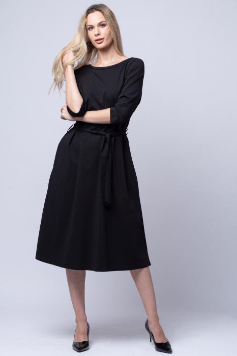 Rochie eleganta, cordon in talie, neagra [1]