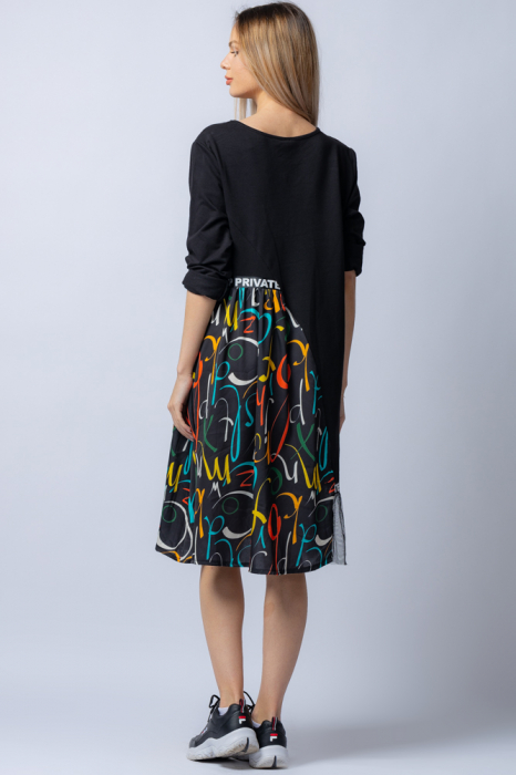 Rochie trendy neagra cu insertie imprimeu colorat si tulle, din bumbac 2