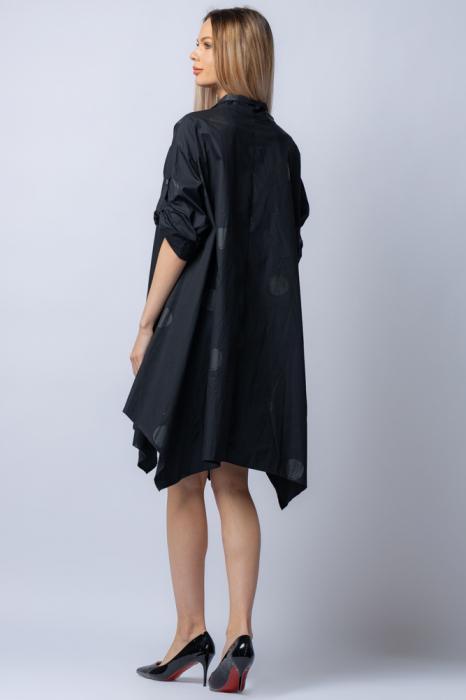 Rochie trendy din poplin satinat,neagra, asimetrica, oversize, cu buline [2]
