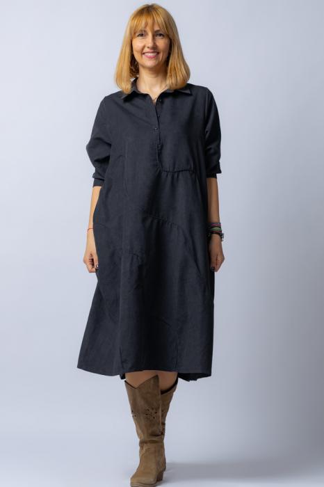 Rochie neagra midi, cu guler tip camasa si model cusaturi [0]
