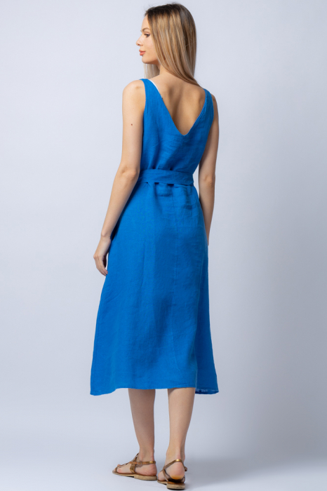 Rochie albastra tip maiou, cordon in talie, din in [2]
