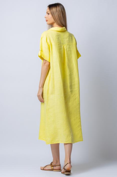 Rochie midi galbena, tip camasa, cu buzunare aplicate, din in [2]