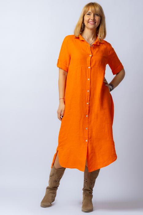 Rochie midi portocalie, tip camasa, din in [0]