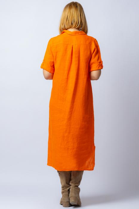 Rochie midi portocalie, tip camasa, din in [2]