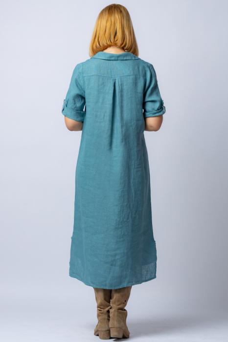 Rochie midi albastru jeans, tip camasa, din in [2]