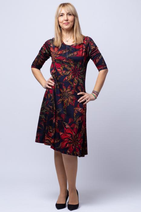 Rochie `A line` midi, bleumarin imprimeu flori rosii, din vascoza [0]