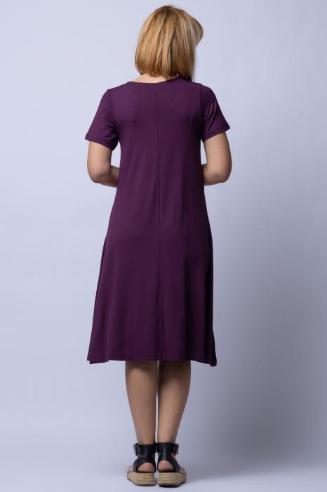 Rochie `A line` midi, bordo din tricot cu imprimeu chip de fata [2]