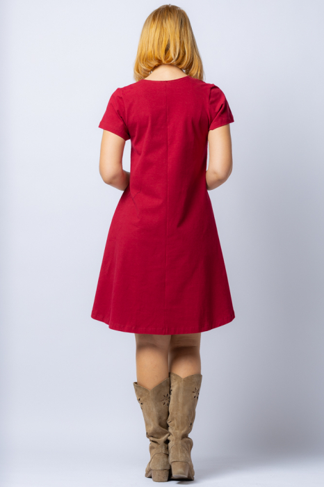 Rochie `A line` midi, bordo, din tricot plin cu aplicatie unicat [2]