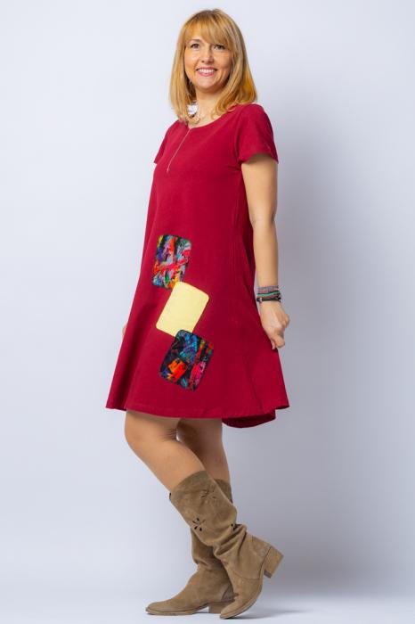 Rochie `A line` midi, bordo, din tricot plin cu aplicatie unicat [1]