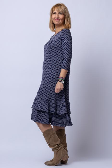 Rochie `A line` midi, din tricot gri cu imprimeu si doua volane poale 1