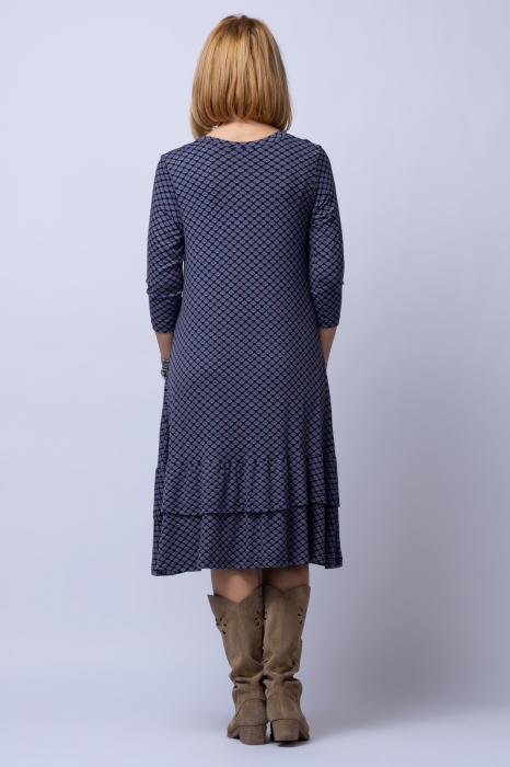 Rochie `A line` midi, din tricot gri cu imprimeu si doua volane poale 2